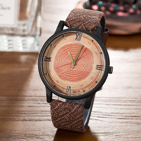 Quartz Log Cabin Style Wood Watch