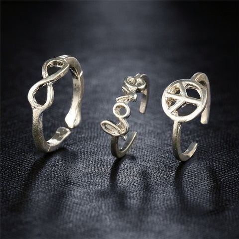 Peace Love Infinity Toe Ring Trio Set