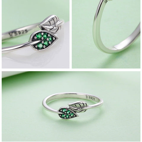 Sterling Silver Green Leaf  Ring
