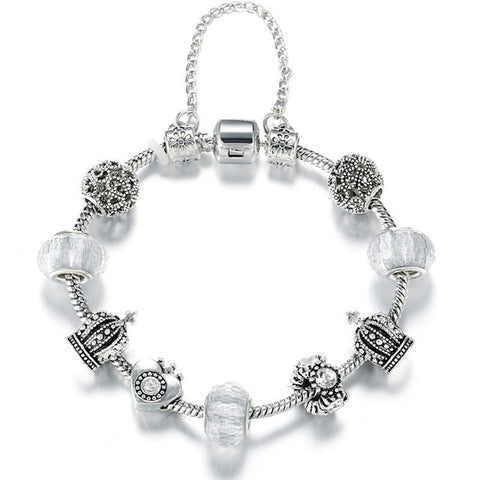 Crown Crystal Beaded Bracelet