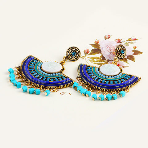 Peacock Blue Beaded Drop Earrings
