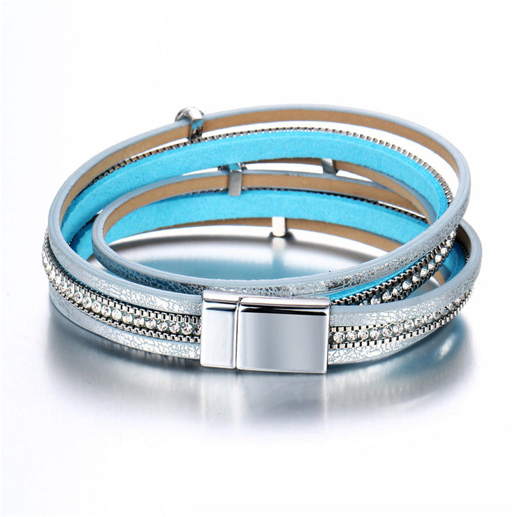Silver Tone Layered Leather Clasp Bracelet