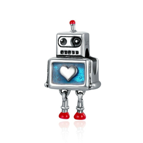 Sterling Silver Robot Love Charm