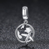 Sterling Silver Airplane Travel Map Charm