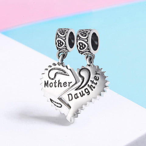 Sterling Silver Mother and Daughter Love Pendant Charms