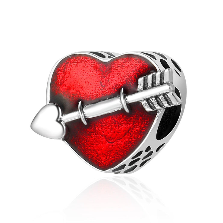 Sterling Silver Arrow & Red Heart Charm