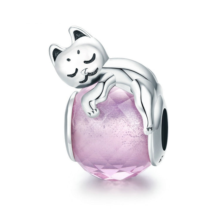 Sterling Silver Sleeping Cat Charm