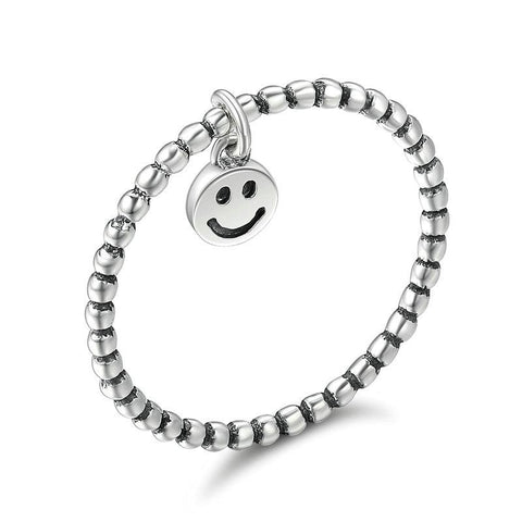 Sterling Silver Smiley Face Charm Ring