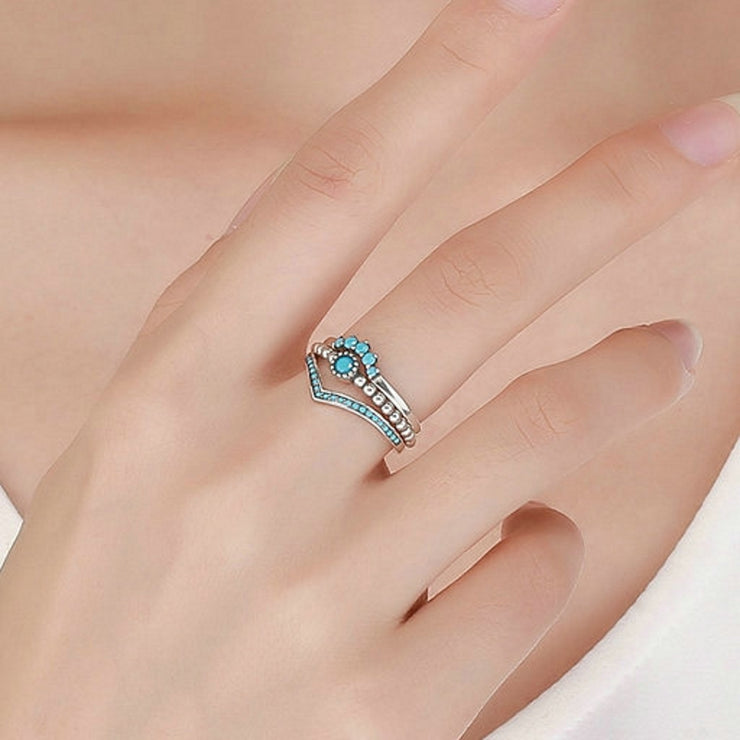 Sterling Silver Teal Boho Ring Stack