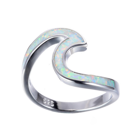 White Opal Wave Ring