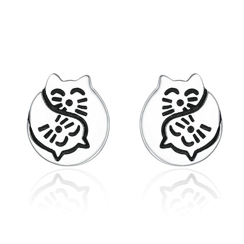 Sterling Silver Yin Yang Cat Earrings