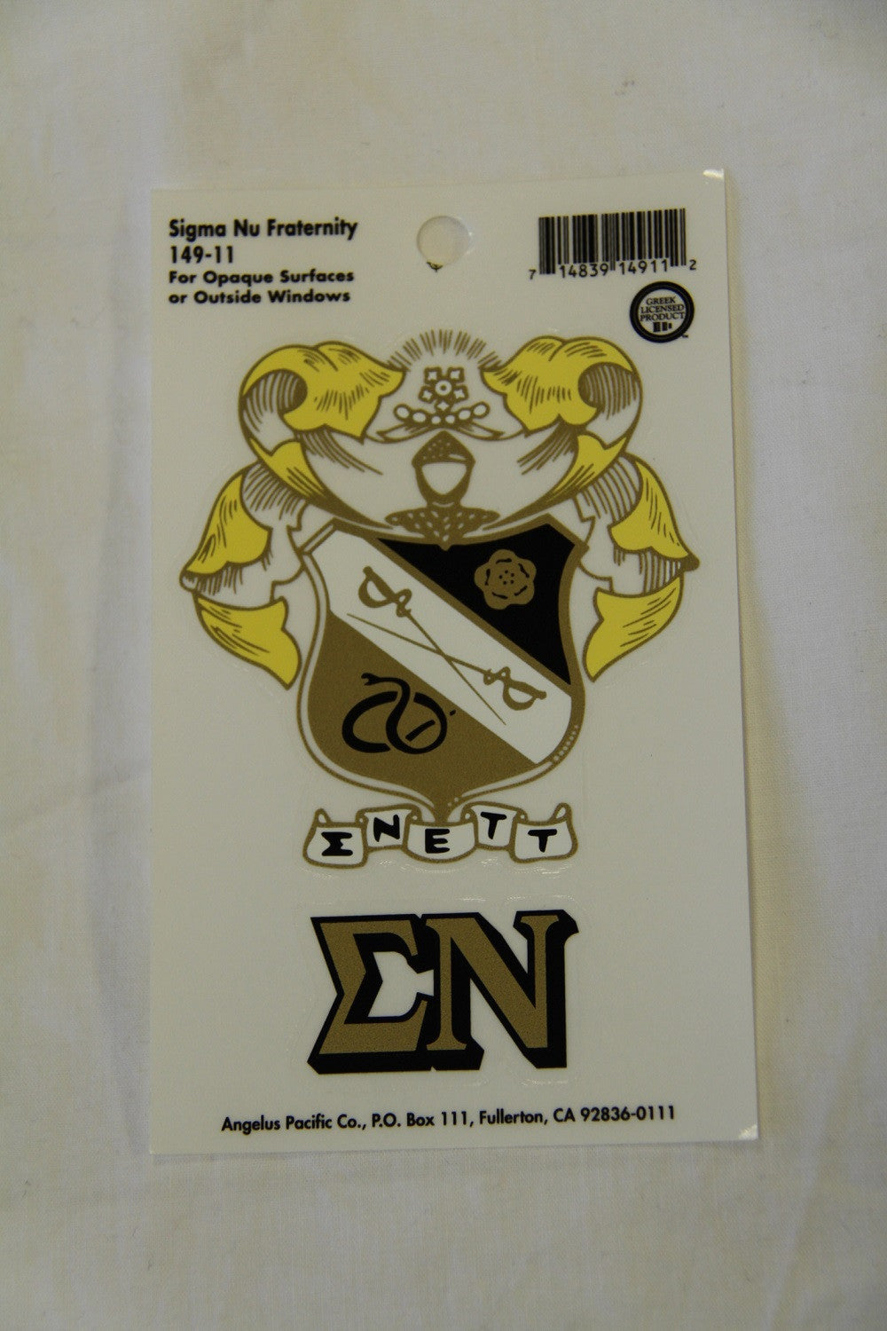 Sigma Nu Decal Sticker