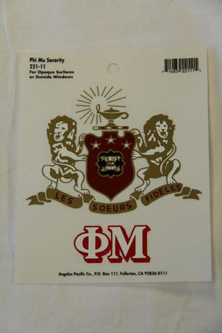 Phi Mu Decal Sticker