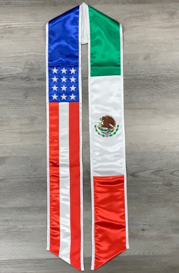Mexican American Flag Graduation Stole / Sash