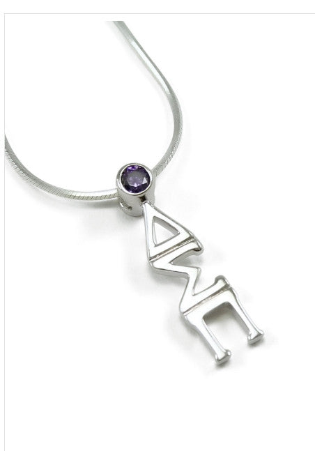 Delta Sigma Pi with Purple Crystal  (TC001) Pendant