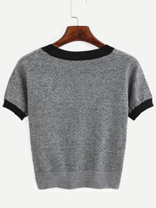 Grey Knitted T-Shirt T622890