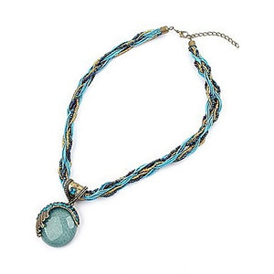 Blue Round Crystal Necklace J783767