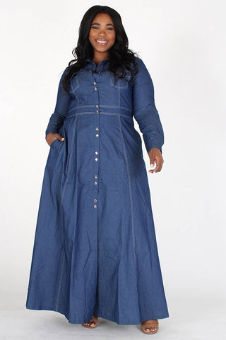 A Line Denim Maxi Dress
