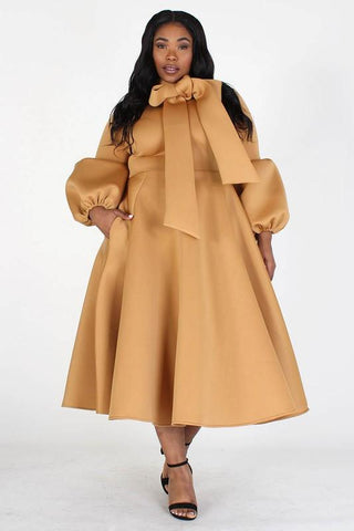 Solid Bow Tie Midi Dress