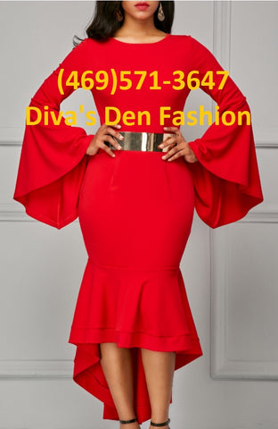 Bell Sleeve Belted Dress