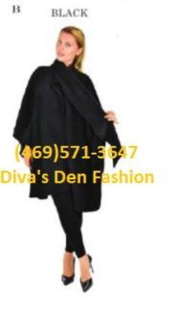 Full Size Poncho Cape Black