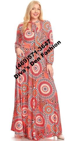 Medallion Print Maxi Dress