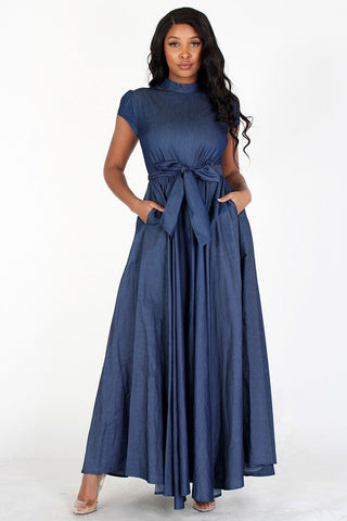 Denim Cap Sleeve Dress