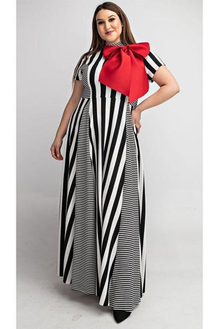 PLUS Stripe Long Dress