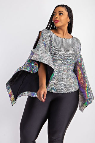 Batwing Sequins Top