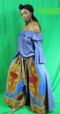African Print Denim Dashiki Wide Leg Pant