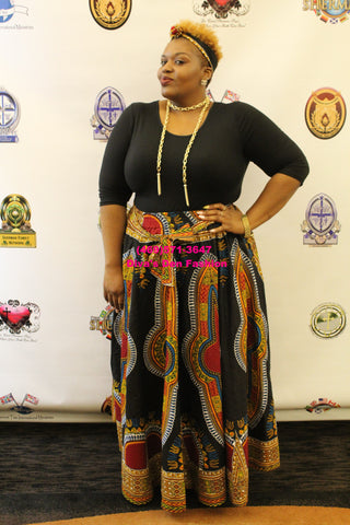 African Print Dashiki Maxi Skirt black