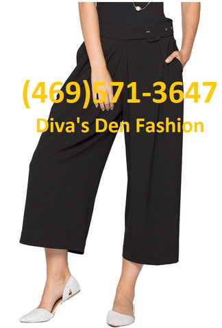 Belted Wide Leg Pants P0001