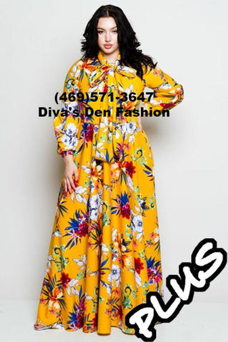 Floral Puff Sleeve Long Dress