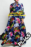 TDC36581 Floral Puff Sleeve Long Dress
