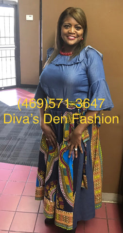 African Print Dark Denim Dashiki Maxi Skirt