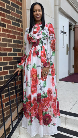 Rose Print Long Dress