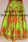 African Print Dashiki Maxi Skirt Lime