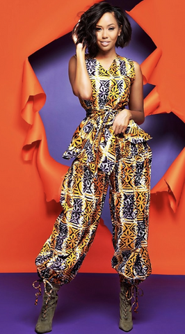African Print Ankle Tie Pant