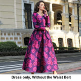Long Sleeve Jacquard Floral Long Dress