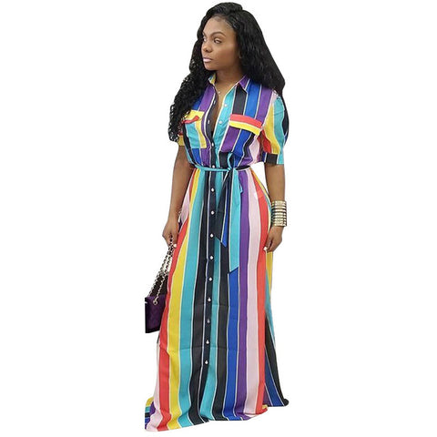 Striped Belt Maxi Dress