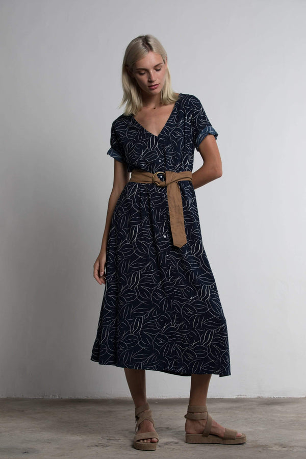 Arcadia Dress - Navy Foliage - BlubellaFashion