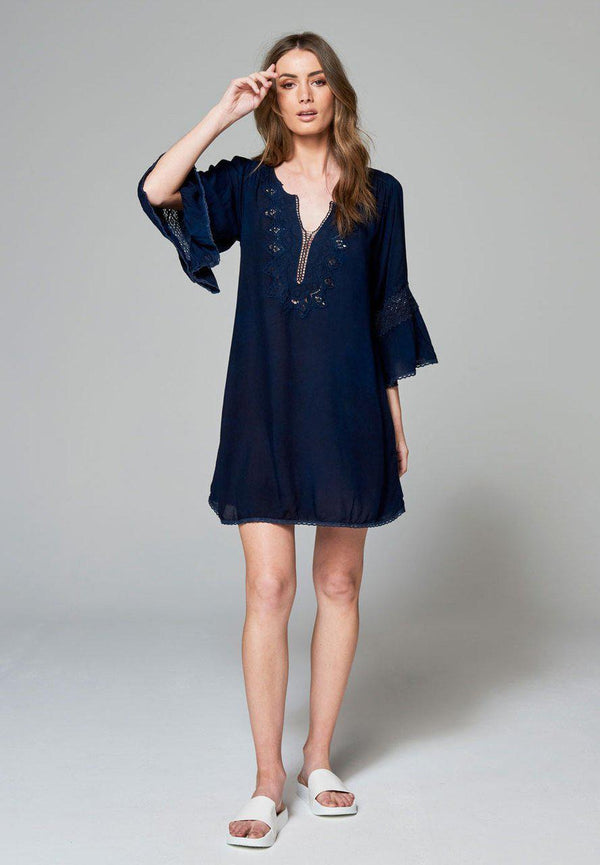 Axel Kaftan Dress - Navy - BlubellaFashion