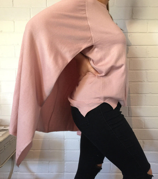 Cape Knit - Pink - BlubellaFashion
