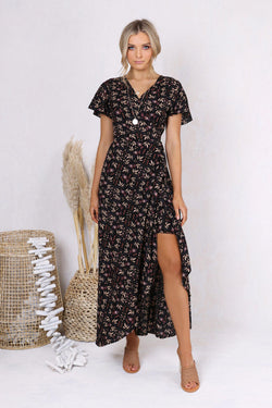 Eliza Wrap Maxi Dress - BlubellaFashion