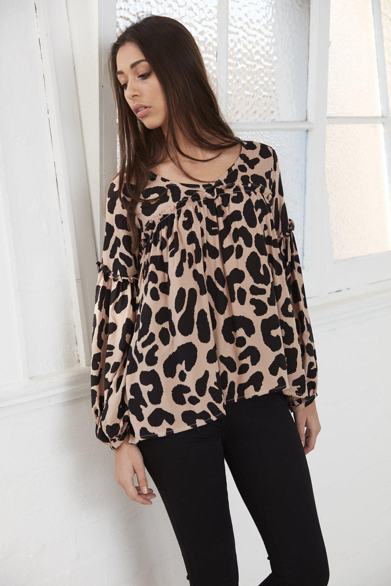 Gretel Gathered Shirt - Blush Leopard - BlubellaFashion