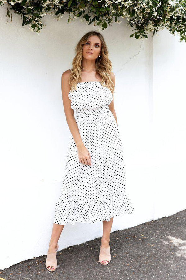 Kalli Dress - White with Black Spot - BlubellaFashion