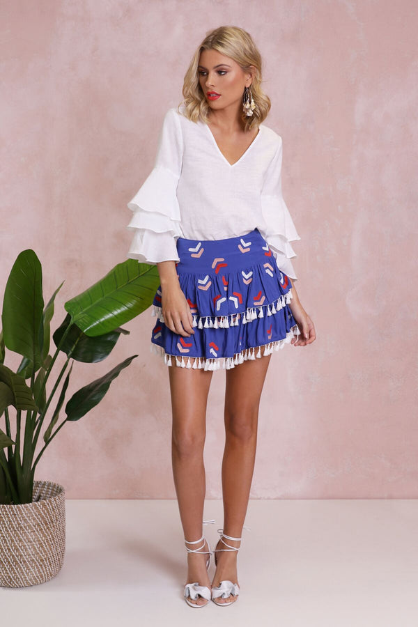 Medusa Embroidered Skirt - BlubellaFashion