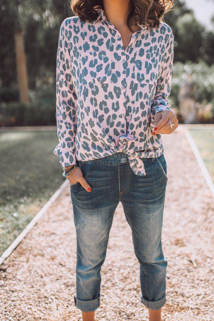 Mia Shirt - Pink Leopard - BlubellaFashion