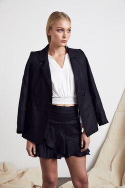 Wrap Linen Blazer - BlubellaFashion