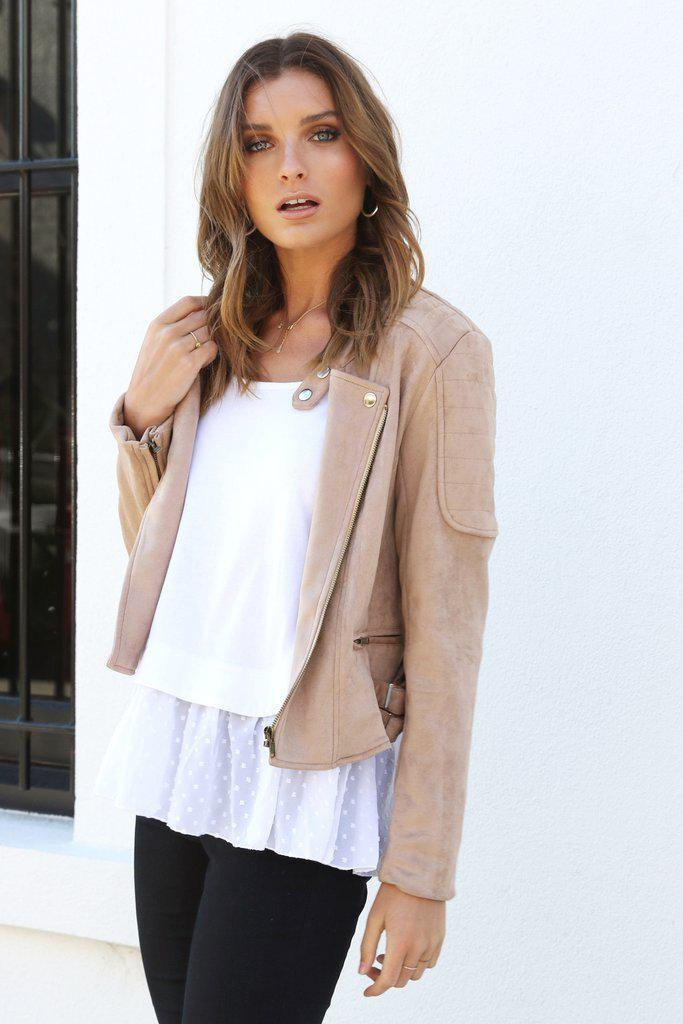 On Your Biker Jacket - Camel - BlubellaFashion
